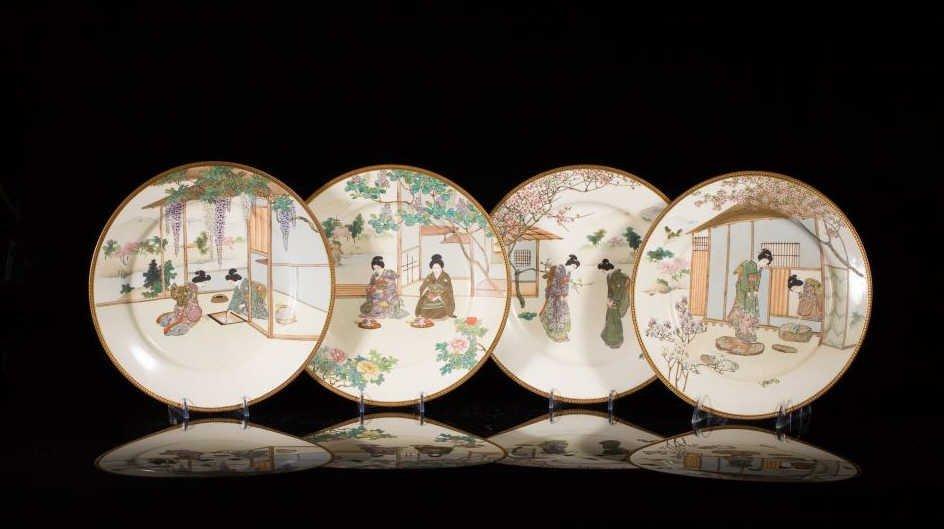 FOUR JAPANESE SATSUMA PLATES