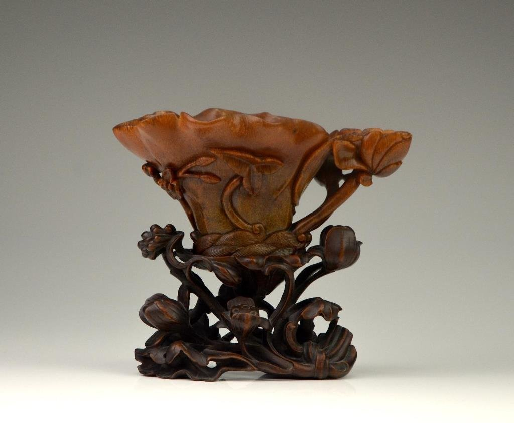 CARVED RHINO HORN LIBATION CUP