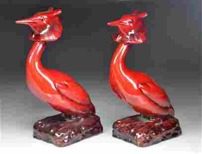PAIR OF ROYAL DOULTON FLAMBE GREAT CRESTED GREBE