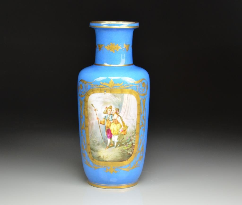 FRENCH HAND PAINTED PORCELAIN VASE