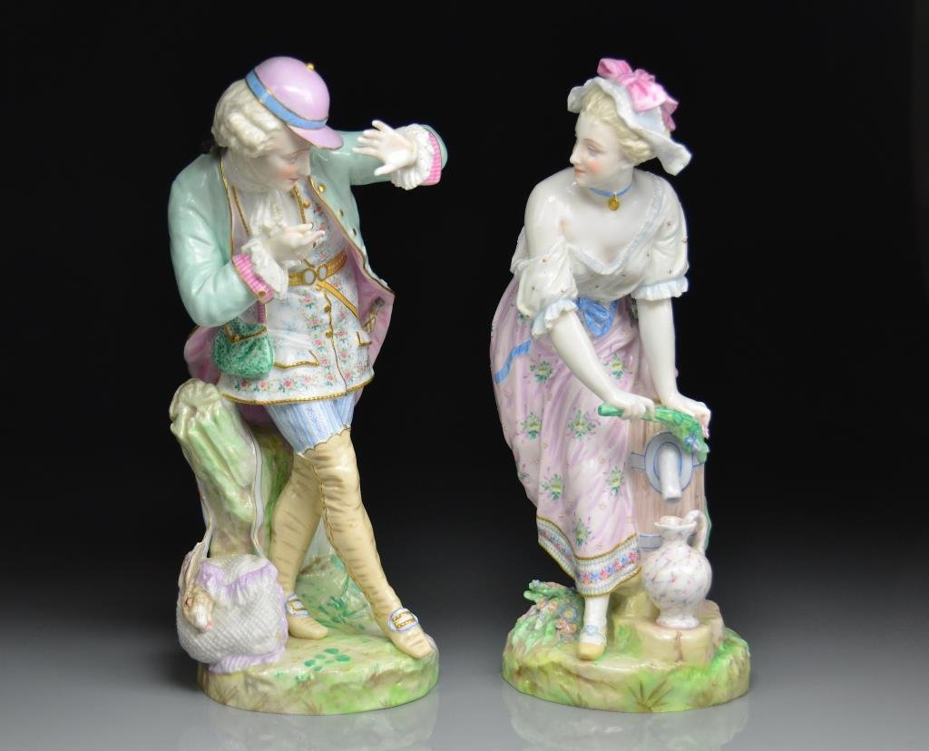 PAIR OF 19th C FRENCH PORCELAIN FIGURES
