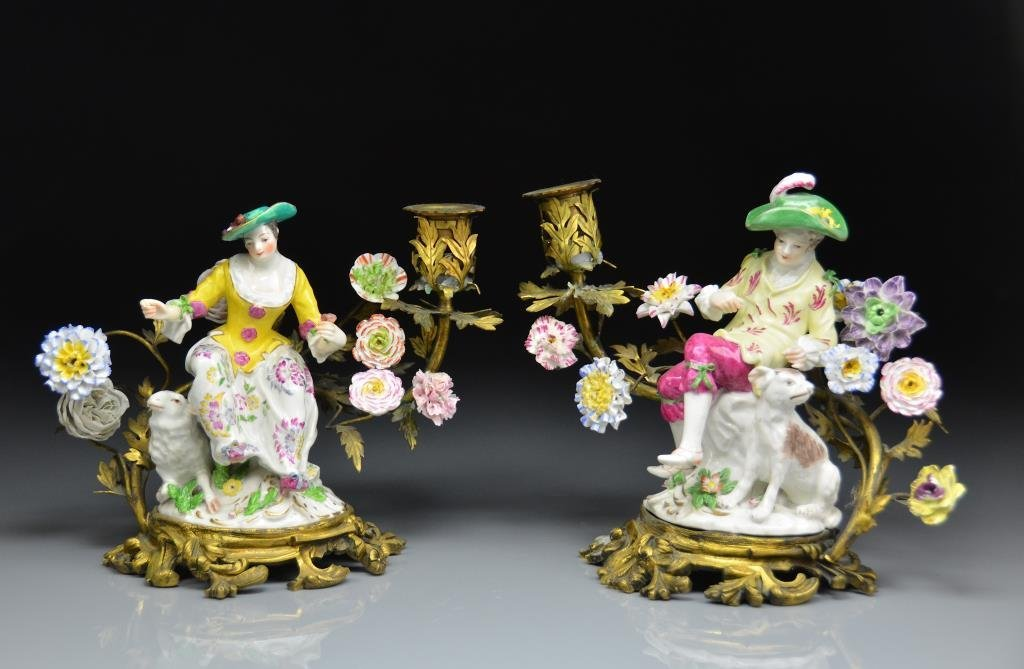 PAIR OF FRENCH PORCELAIN FIGURAL CANDELABRA