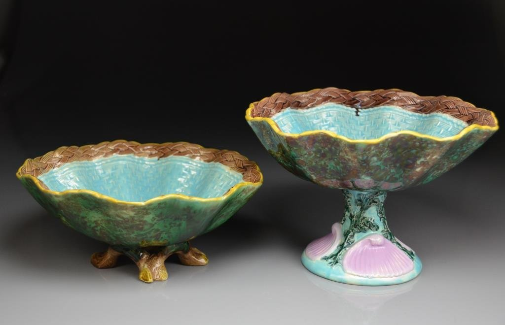TWO PIECES OF HOLDCROFT MAJOLICA POTTERY