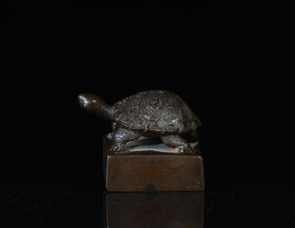 CHINESE BRONZE TURTLE SEAL