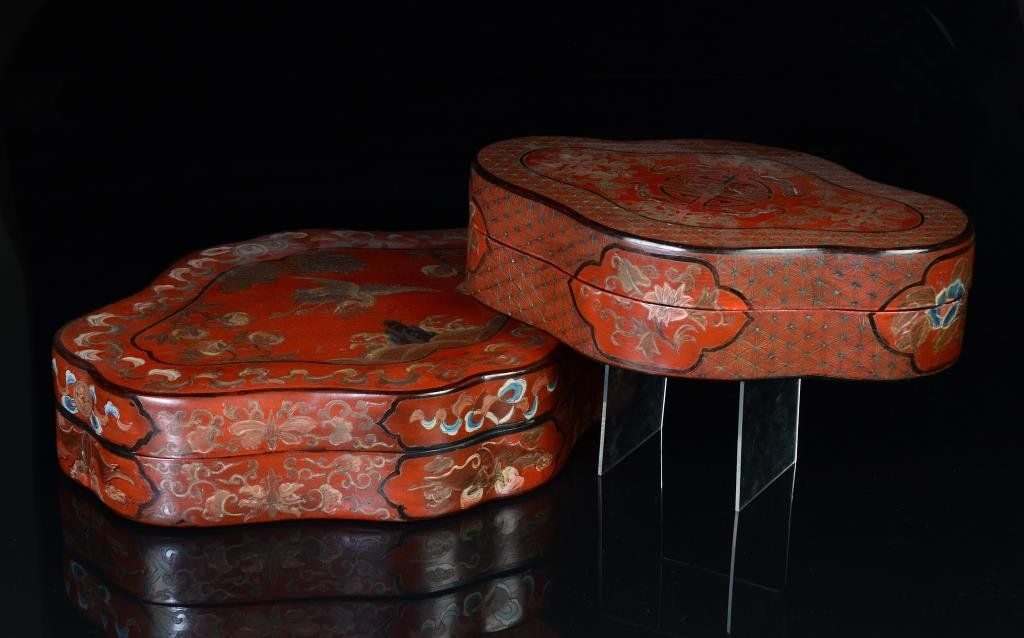 TWO CHINESE RED LACQUER SHOU BOXES