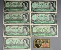 SEVEN 1967 CANADIAN CENTENNIAL DOLLAR BANK NOTES