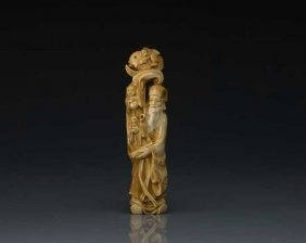 Carved Ivory Okimono Of The Gods Of Good Fortune