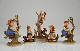 FIVE GOEBEL HUMMEL PORCELAIN FIGURES