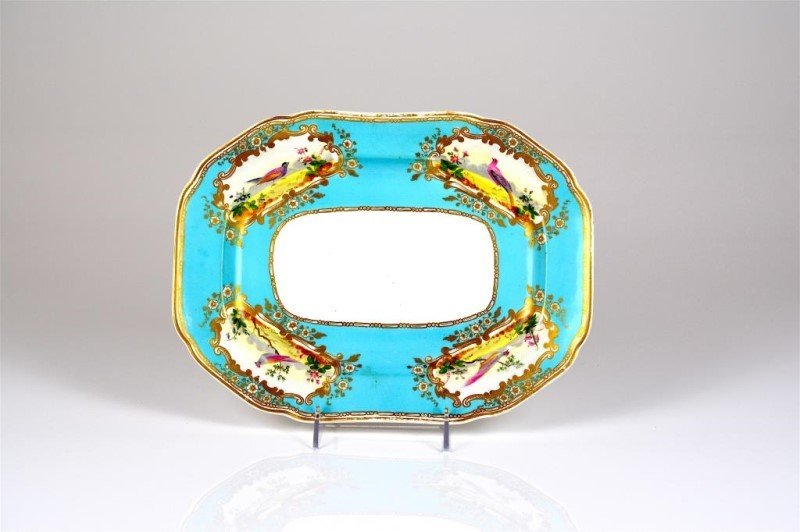 19TH C. ENGLISH TURQUOISE PORCELAIN PLATTER