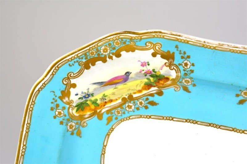 19TH C. ENGLISH TURQUOISE PORCELAIN PLATTER - 2