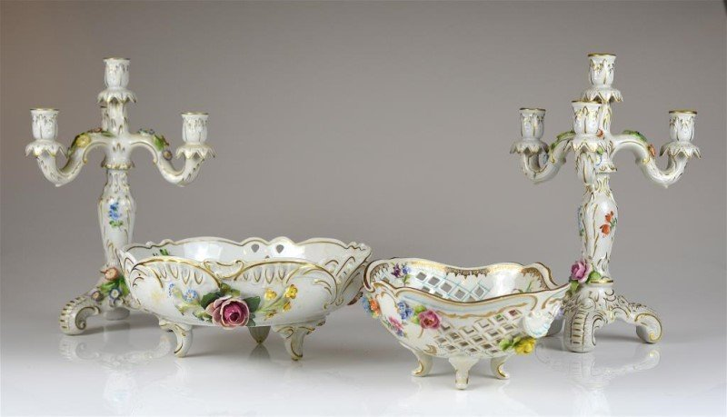 FOUR PCS. DRESDEN PORCELAIN HAND PAINTED GARNITURE