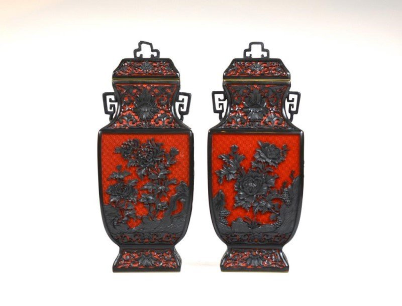 PAIR OF CARVED CINNABAR LACQUER VASES