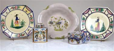 FIVE PCS. OF FRENCH & DUTCH FAIENCE POTTERY