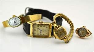 THREE GOLDFILLED WRISTWATCHES AND ONE RING WATCH