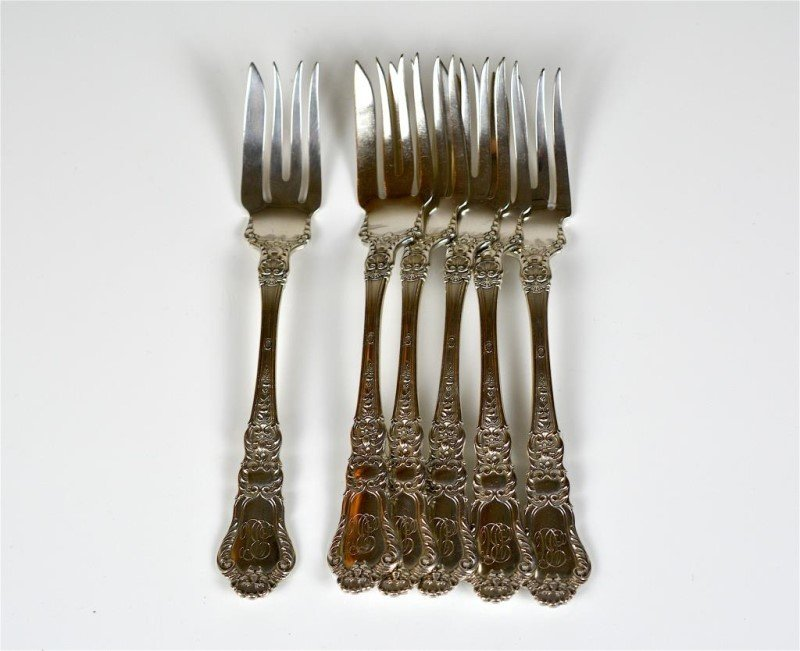 SIX GORHAM OLD BARONIAL SILVER FORKS