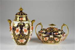 TWO PIECES OF ROYAL CROWN DERBY IMARI PORCELAIN