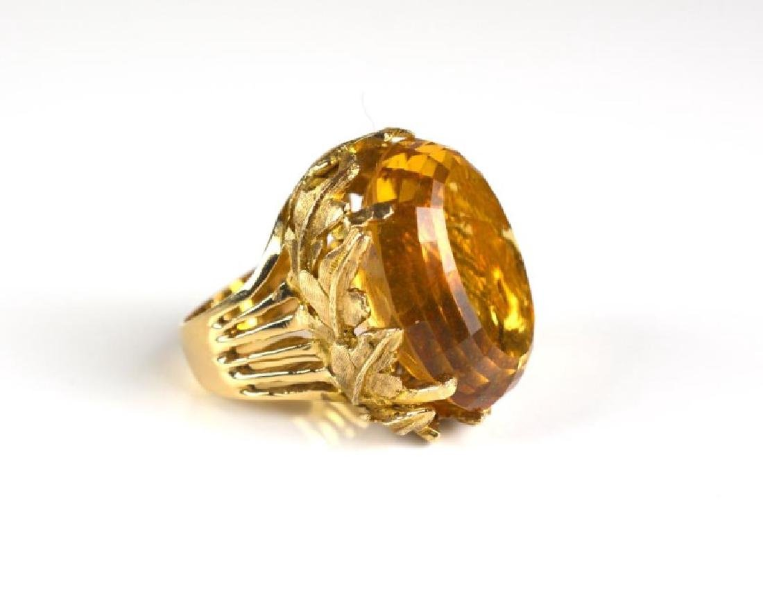 CITRINE AND YELLOW GOLD COCKTAIL RING