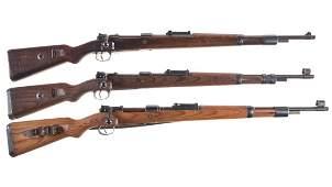 Three Nazi Mauser Bolt Action Rifles