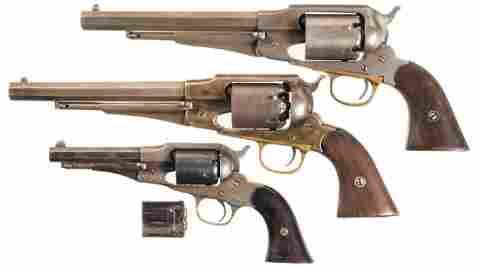 Three Antique Remington Percussion Revolvers