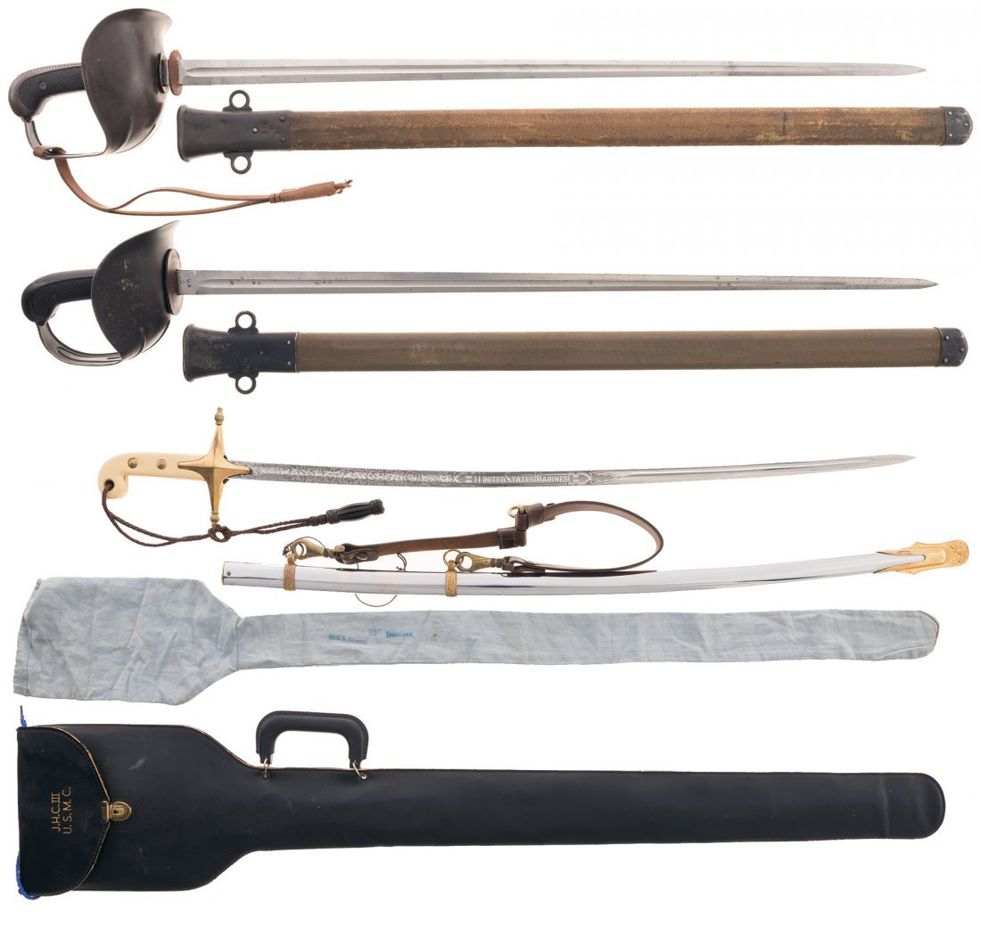 """Two U.S. 1913 """"Patton"""" Cavalry Swords with Scabbards"""