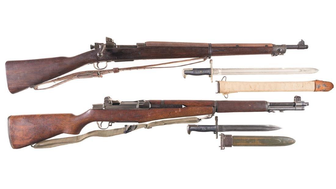 Two World War II U.S. Military Rifles with Bayonets