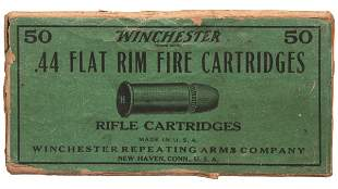 Antique Winchester 50 Count Box of .44 Flat Cartridge