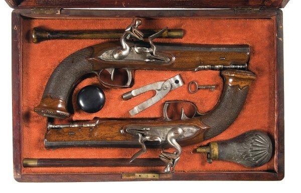 59: Cased Pair of Belgian Flintlock Dueling Pistol...