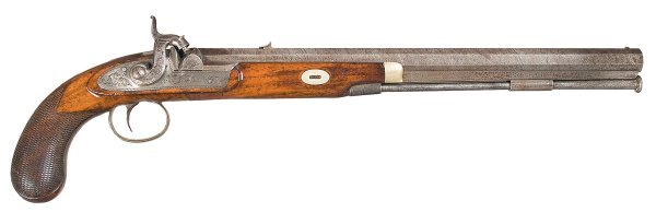 61: Unmarked English Target Percussion Pistol with...