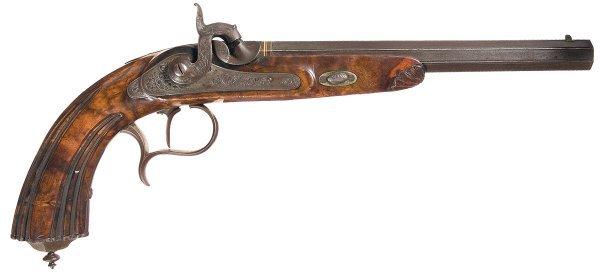 63: Engraved German Percussion Target Pistol Marke...