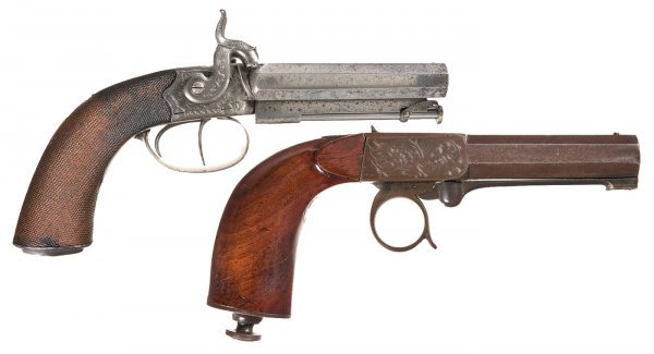 68: Two Percussion Pistols -A) Engraved English Do...