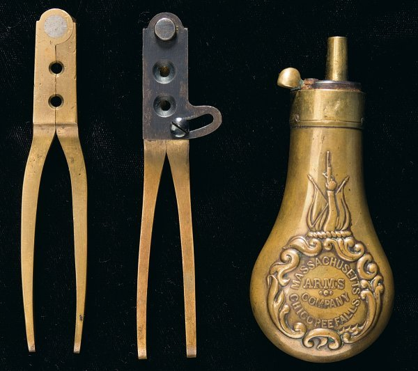 72: Two Bullet Molds and One Powder Flask by Massa...