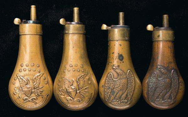 74: Four Powder Flasks, Including Two Colt Flasks