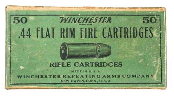 1019: Scarce Box of Winchester .44 Flat Rimfire Cart...