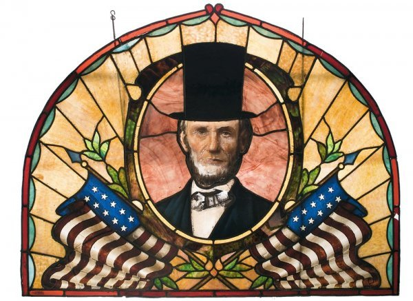 3192: Magnificent President Abraham Lincoln Stained ...