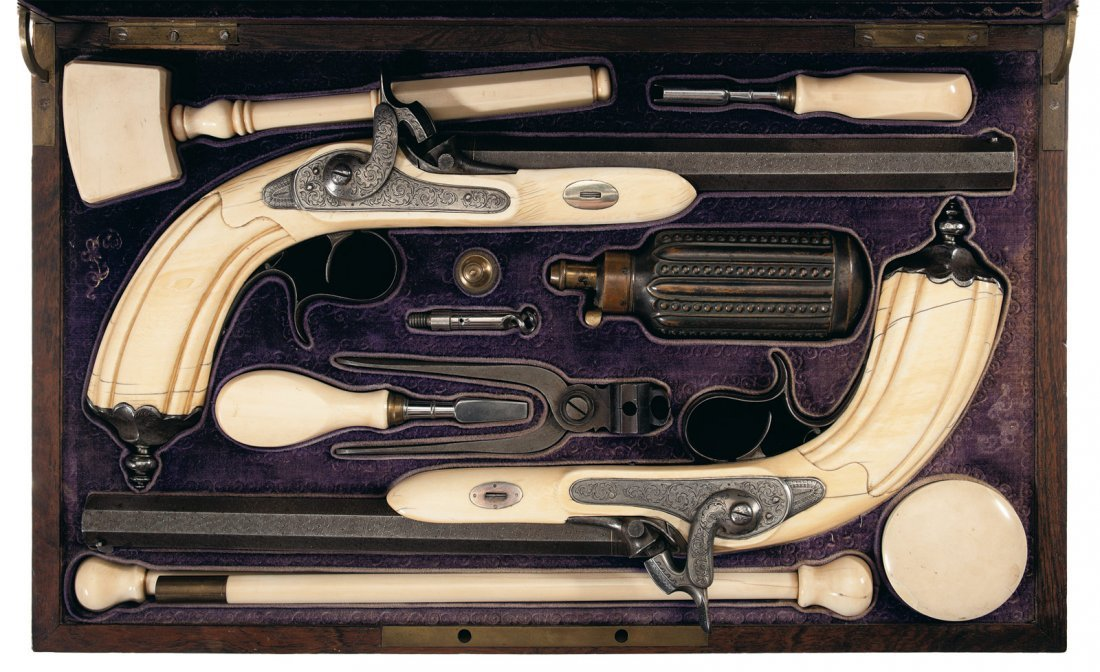 4: Magnificent Cased Pair of 19th Century, Ivory Stocke
