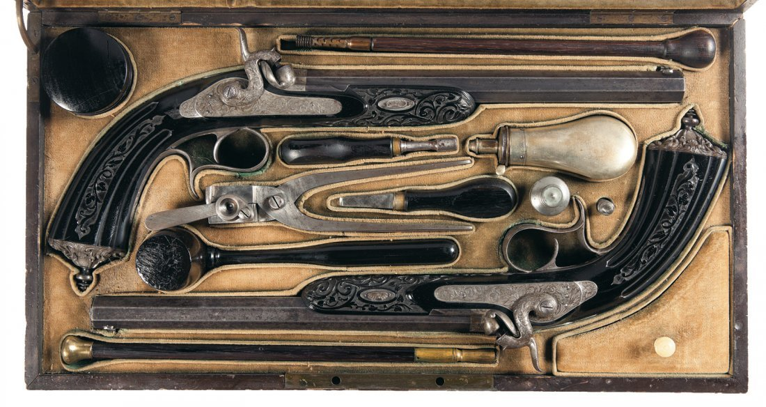 5: Cased Pair of 19th Century French Target Pistols by