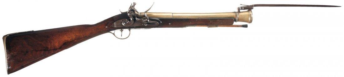 17: Brown Marked Brass Barrel Flintlock Blunderbuss wit