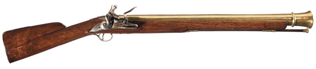 18: Massive British Proofed Flintlock Brass Barrel Blun