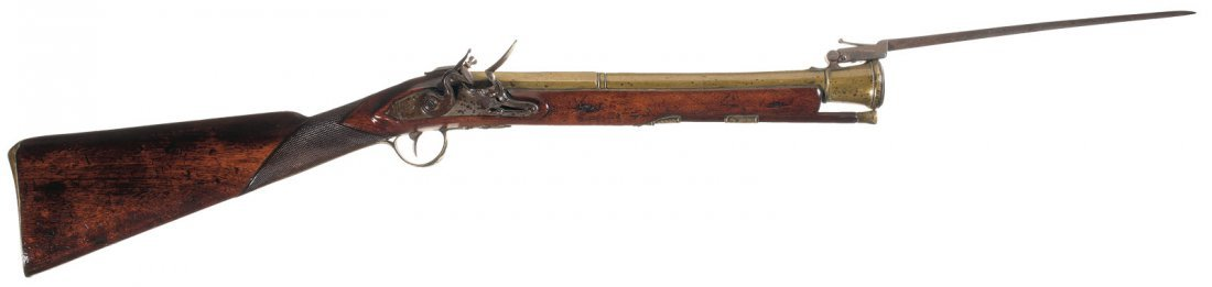 19: English Noyes Marked Brass Cannon Barrel Flintlock
