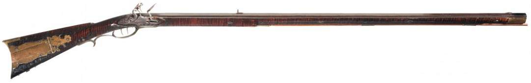 124: Important Dickert & Gill Kentucky Flintlock Rifle