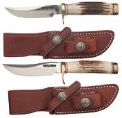 447: Two Randall Miniature Model 3 Knives with Sheaths