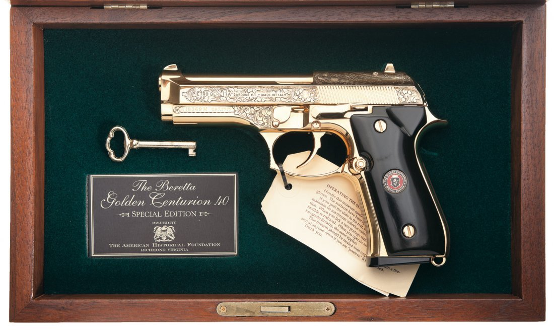 852: Cased Engraved Beretta Model 96-D Golden Centurion