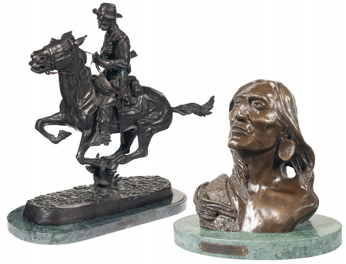 1022: Two Bronze Statues from Frederic Remington and Ch