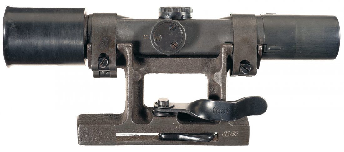 """1596: Nazi WWII """"dow"""" Code ZF4 Sniper Scope with Mount"""