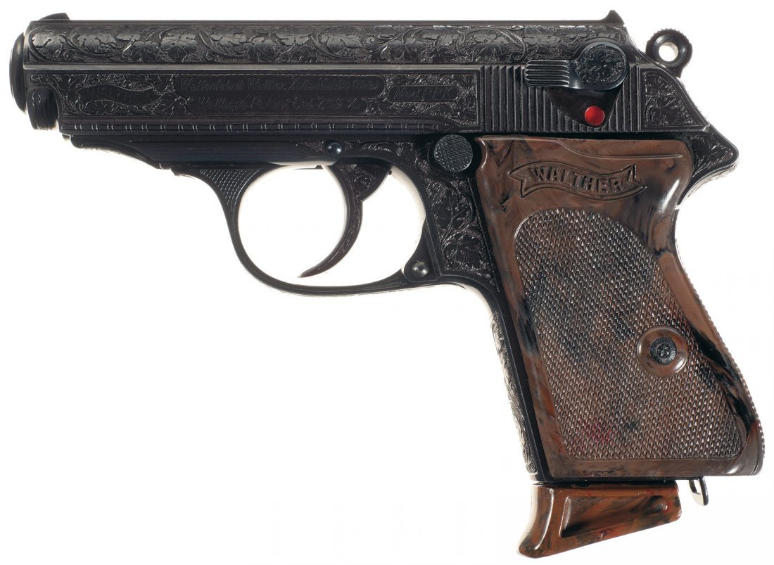 1640: Rare Walther Factory Engraved PPK Pistol and Hols