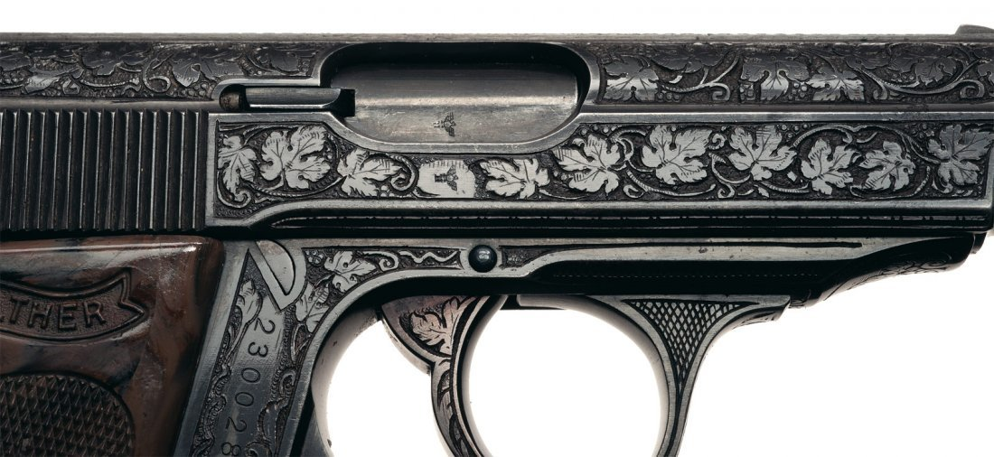 1640: Rare Walther Factory Engraved PPK Pistol and Hols - 3
