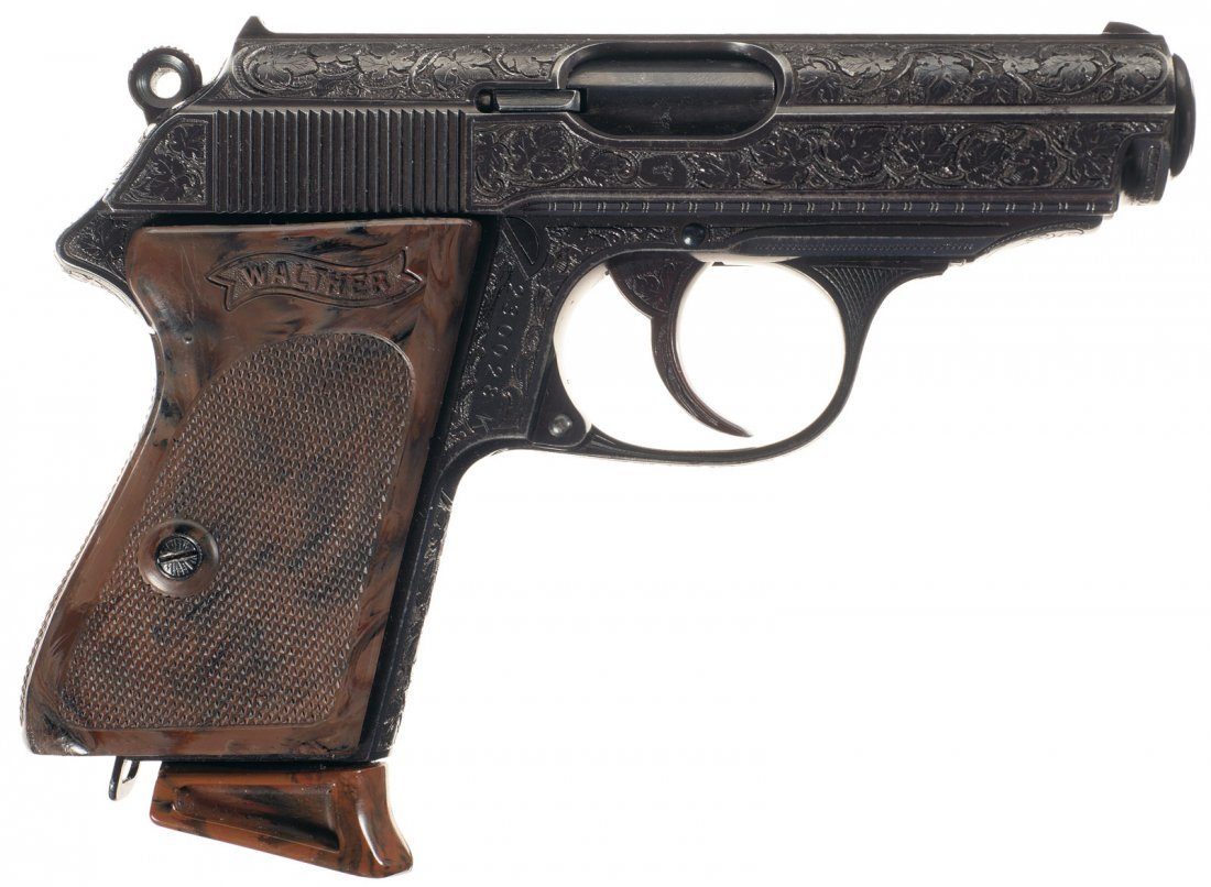 1640: Rare Walther Factory Engraved PPK Pistol and Hols - 5