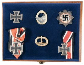 1642: Cased Grouping of Nazi/Kriegsmarine Medals and Ba