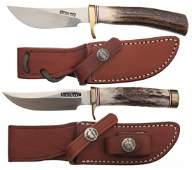 1722 Two Randall Stag Handle Knives with Sheaths