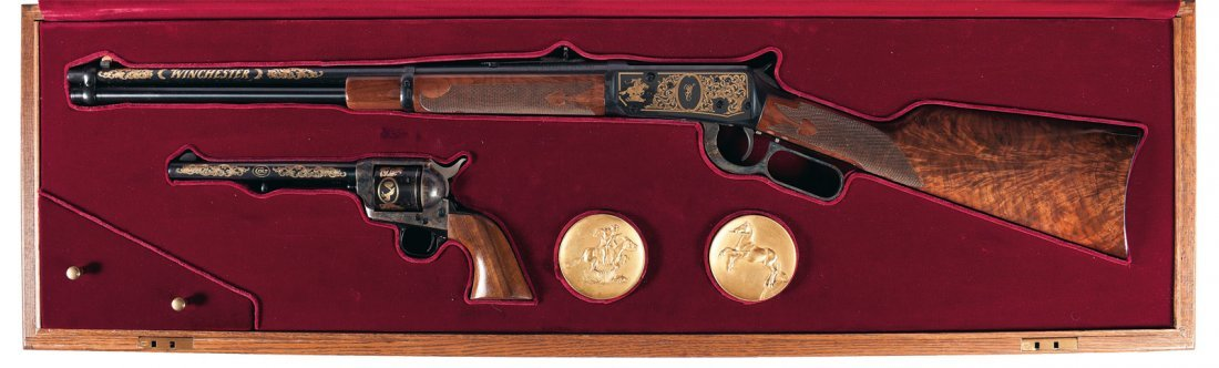1963: Cased Engraved Set of a Winchester Model 94 Comme